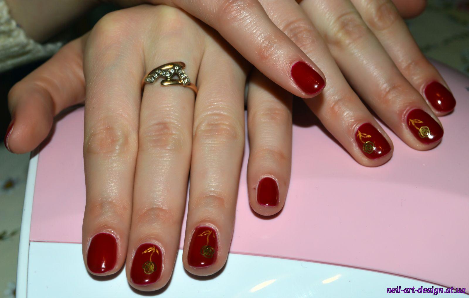Вишневый маникюр: фото дизайна ногтей вишневого цвета 100